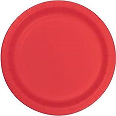 "Custom & Unique {9"" Inch} 24 Count Multi-Pack Set of Medium Size Round Disposable Paper Plates w/ Single Colored Basic Plain Celebration Party ""Coral Red-Orange Colored"" mySimple Products"