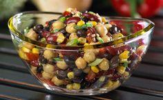 Epicure's 3 Bean Salsa Salad-using Fajita Seasoning and poco Piquante Salsa Epicure Recipes, Bean Recipes, Appetizer Recipes, Salad Recipes, Appetizers, Salsa Salad, Fiesta Salad, Yummy Eats, Yummy Food