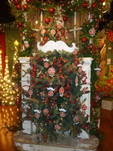 Mustache Christmas tree theme, The Round Top Collection, Dallas Market Christmas Decorating http://www.ShowMeDecorating.com
