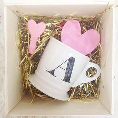 Monogram mug & confetti & heart balloons= perfect gift #anthrofave