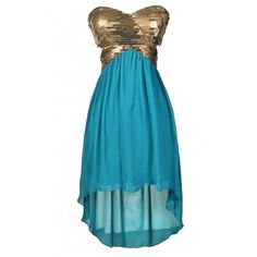 Mermaid Dreams Sequin and Chiffon High Low Dress in Teal ($25) ❤ liked on Polyvore featuring dresses