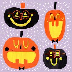 Hip-Hip Halloween Pumpkins - 13 days of Halloween Halloween Prints, Creepy Halloween, Halloween Design, Halloween Kids, Vintage Halloween, Halloween Pumpkins, Happy Halloween, Spooky Spooky, Halloween Illustration