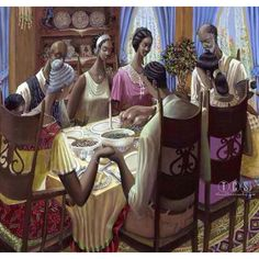 African American Art-reminds me of traditional Sunday dinner which always brought the family together
