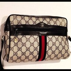 AUTHENTIC Gucci monogram canvas cross body 1980's Great condition! Pre- loved. Interior lining wear & normal leather aging. Beautiful, classic bag! All of the hard wear is stamped & every zipper features the GG charm logo! Gucci Bags