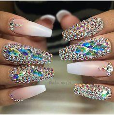 Nude Diamond coffin nails