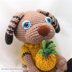 Crochet Amigurumi Dog Art Doll Toy with Pineapple Cupcake by enna design, via Flickr
