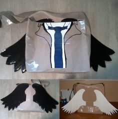 Castiel duct tape bag, with black or white wings. From the Supernatural tv show