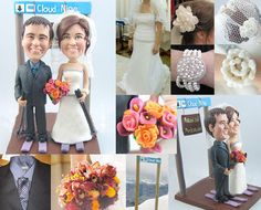 Skiing theme  Personalised wedding cake by UniqueCakeToppers