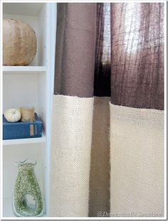 Burlap Striping on your curtain - Domestically Speaking
