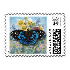"Blue Vintage ""Beautiful Butterfly"" Postal Stamp"