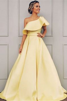 Charming One Shoulder Satin Prom Dress, A Line Cheap Satin Formal Dress This dress could be custom made, there are no extra cost to do custom size and color Gorgeous Prom Dresses, A Line Prom Dresses, Cheap Prom Dresses, Prom Party Dresses, Homecoming Dresses, Elegant Dresses, Simple Dresses, Dress Prom, Wedding Dresses