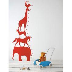 Animal Tower Muursticker Rood - Ferm Living - Kids