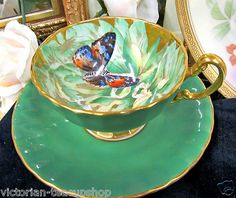 AYNSLEY BUTTERFLY  TEA CUP AND SAUCER CHINTZ-PAINTED TEACUP