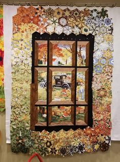 Combination of one block wonder & using attic window effect on panel. Hexagon Quilt, Quilt Block Patterns, Pattern Blocks, Quilt Blocks, Quilt Boarders, Fabric Panel Quilts, Attic Window Quilts, Millefiori Quilts, One Block Wonder