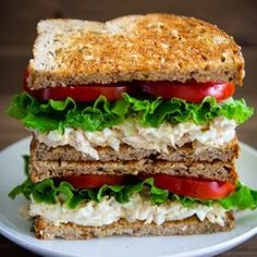 The classic tuna sandwich just got better with the addition of hard boiled eggs onion lettuce and tomatoes. Easy Salad Recipes, Shrimp Recipes, Healthy Dinner Recipes, Cooking Recipes, Tomato Sandwich, Salad Sandwich, Sandwich Recipes, Cacciatore, Tempeh