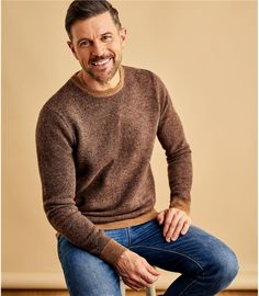Navy/Tawny | Mens 2 Tone Jumper | WoolOvers UK