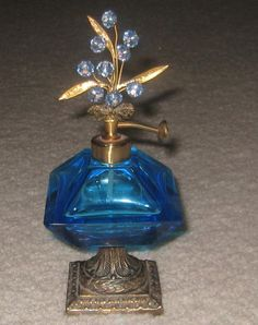 Vintage Perfume Bottle With Margarita Crystal Flowers & Atomizer – West Germany