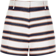 River Island Navy stripe high waisted shorts (570 SEK) ❤ liked on Polyvore featuring shorts, river island, high-waisted shorts, stripe shorts, highwaist shorts and high-rise shorts