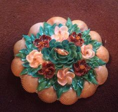 Vintage Handmade Seashell Brooch by VintageDaydreamShop on Etsy