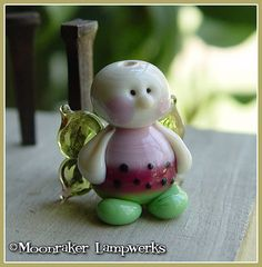 Watermelon Fairy Summer Lampwork Bead by moonrakerbeads on Etsy