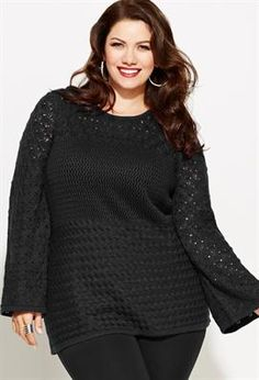 Plus Size Mixed Stitch Pullover Sweater | Plus Size Sweaters & Cardigans | Avenue