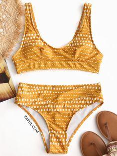 Spot Print Padded Bikini Set - Yellow M on sale only US$18.99 now, buy cheap Spot Print Padded Bikini Set - Yellow M Swimwear at zaful.com
