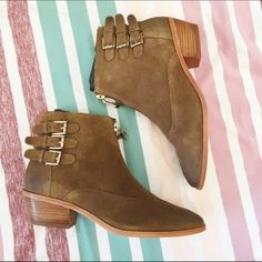 Rebecca Minkoff Suede Booties NWT & box. Gorgeous Rebecca Minkoff booties. Edgy buckles and an up the middle zipper make these the go-to everyday boot. Suede, light tan color. Size 6. Comes with original box and dustbag. Natural discoloring of the suede is the intended style of the boot. Rebecca Minkoff Shoes Ankle Boots & Booties