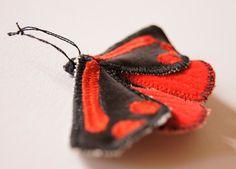 Cinnabar Tiger Moth Statement Brooch Fiber Art Sculpture Natural History Nature Lovers Gift Entomology Luxury Woodland Gift for Her