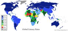 Map of world literacy rates by country