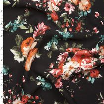 Pink and Orange Rose Floral on Black Rayon Gauze