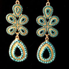 NEW Capri Aqua & Gold Dot Bead Drop Dangle Bubble Resin Pierced Hook Earrings  #DropDangle