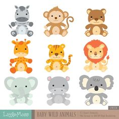 Baby Wild Animals Digital Clipart by LittleMoss on Etsy Baby Wild Animals, Jungle Animals, Animals For Kids, Clipart Photo, Design Blog, Web Design, Safari Baby Shower Cake, My Busy Books, Party Banner