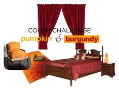 """Pumpkin and burgundy in bedroom"" by dianadeluxe ❤ liked on Polyvore featuring interior, interiors, interior design, home, home decor, interior decorating, Alexander, DutchCrafters, Old Hickory Tannery and Elements"