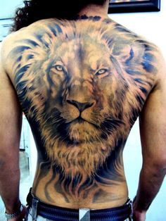 This is a huge full back lion tattoo concept.  That must have taken a lot of time to complete.