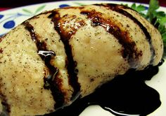 Chicken Stuffed with Brie, Apples and Walnuts with Balsamic Drizzle