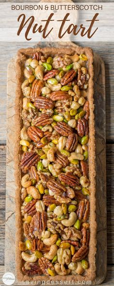 This looks so unusual & Tasty! Bourbon & Butterscotch Nut Tart -Assorted nuts are coated in a smooth, creamy butterscotch sauce with just a hint of bourbon then baked in a pecan shortbread crust. Tart Recipes, Sweet Recipes, Cooking Recipes, Nut Tart Recipe, Oven Recipes, Fudge Recipes, Candy Recipes, Pie Dessert, Dessert Recipes