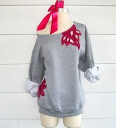 WobiSobi: Off the Shoulder Sweatshirt: DIY. Maybe I won't mind winter so much if I have cute sweatshirts to wear.