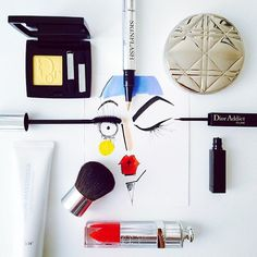 Dior Art! Credit: jamieleereardin #Diorvalley #Dior # DiorBeauty #Lipgloss #EyeShadow #Illustration