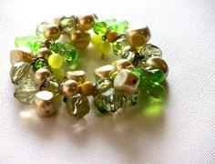 Lemon Lime Cha Cha Bracelet Baroque Pearls Glass by recreated1