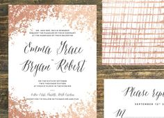 Rose Gold Foil Wedding Invitation Suite Set by TheWoolberryPress
