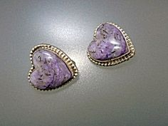 David Troutman Silver Creations Southwest Gundi Russian Charoite Sterling Silver Heart Clip Earrings 1 inch