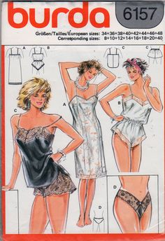 Burda 4262 Misses Lingerie Princess Seam Full Slip Teddy Camisole Wide Leg lace Panties Thong Panties womens sewing pattern by mbchills Lingerie Patterns, Sewing Lingerie, Clothing Patterns, Dress Patterns, Vintage Underwear, Vintage Lingerie, Diy Fashion, Ideias Fashion, Nightgown Pattern