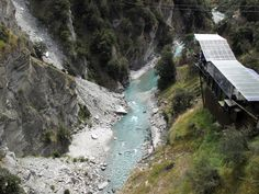 Shotover Canyon Swing - Queenstown, New Zealand - it's kind of like bungee jumping, except with a rock-climbing-type harness. Dunno if I could do it, but the spot is amazing!