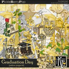 Graduation Day - Yellow Page Kit :: Coordinates with the entire Graduation Day Digital Scrapbooking Collection by Kathryn Estry @ PickleberryPop  $7.99