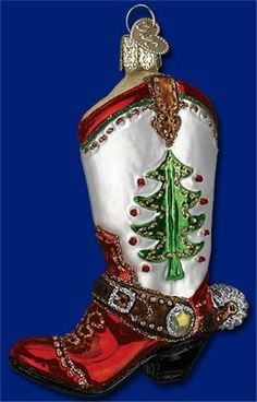 RED GREEN & WHITE CHRISTMAS COWBOY BOOT W/TREE OLD WORLD GLASS ORNAMENT 32159 #OldWorldChristmas