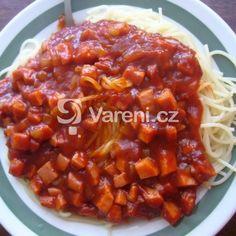 Salámová pánev recept - Vareni.cz Chili, Soup, Chile, Soups, Chilis