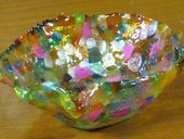 Melted Pony Bead Bowls - smell horrible, turn out pretty!