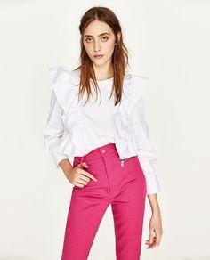 Image 2 de TOP EN POPELINE À VOLANTS de Zara