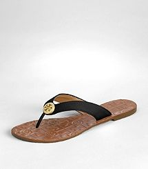 This @ToryBurch is my GO-TO sandal. TUMBLED LEATHER THORA SANDAL. I have them in metallic gold and I carry them everywhere. I wore out the first pair after two years and am on to my second. Keep them in your bag for a chic look when you need to take off your heels.