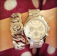 Silvery Michael Kors and Marc Jacobs bracelet stack | tumblr